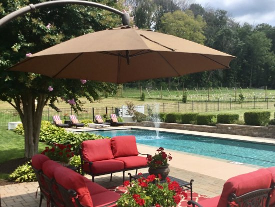 Purcellville, เวอร์จิเนีย: Back Yard pool with seating areas and lounge chairs