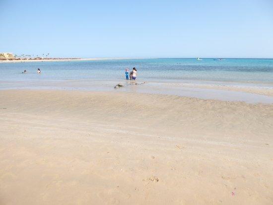 Kempinski Hotel Soma Bay: Puoi camminare per 50m e l'acqua rimane alle ginocchia (perfetto per bambini)