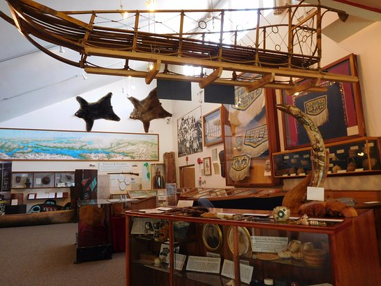 Haines, AK: a different shot of the sled hanging from the ceiling