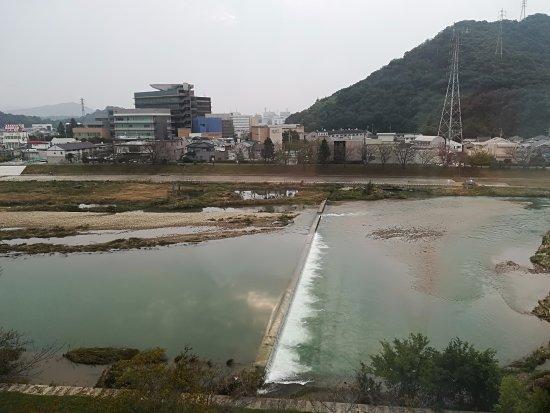 Chisun Inn Himeji Yumesakibashi: 眼下に広がる夢前川。朝は川辺を散歩する人や体操する人たちが見られる。野鳥も。