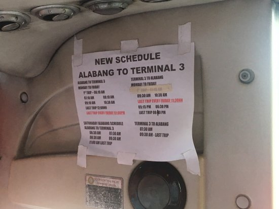 Muntinlupa, Filippinene: Updated Airport Loop Sched via Alabang Terminal to Terminal 3 :) near StarMall. Fare is 60php
