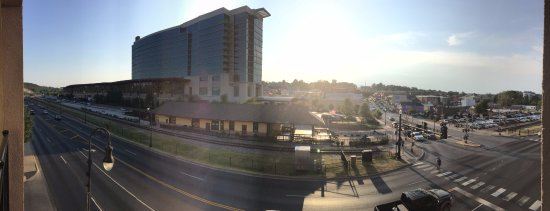 Hilton Promenade at Branson Landing: Panoramic from balcony. The big building is the Hilton Conference Center hotel