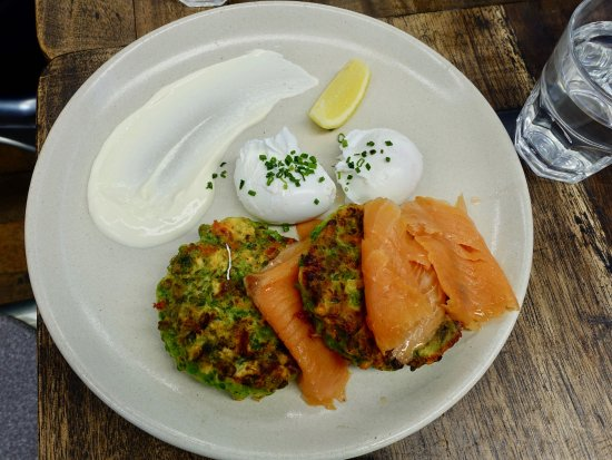 Dural, Australia: Zucchini and fetta Fritters served with poached eggs, smoked salmon and mint yoghurt $18