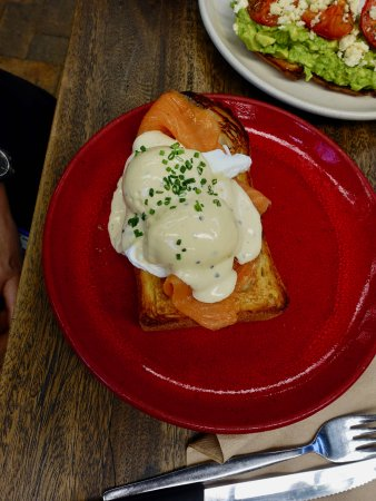 Dural, Australia: Eggs benny, with smoked salmon or bacon, poached eggs and our olive oil hollandaise $18