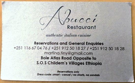 Business card of abucci picture of abucci restaurant addis ababa abucci restaurant business card of abucci colourmoves