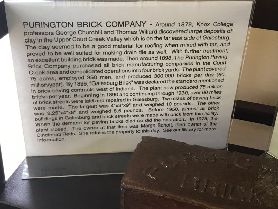 Purington bricks are on many brick-paved streets in Galesburg & were used worldwide