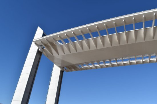 Le Pont Jacques Chaban Delmas : The roadway seems to be floating above you...quite stunning against the blue sky.