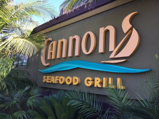Cannons Seafood Grill: Front entrance sign