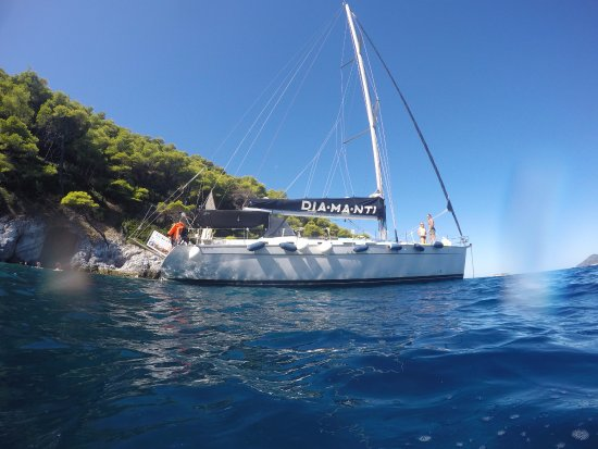 Skiathos Town, Greece: Sailing onboard the Dia-Ma-Nti, Pic taken from my GoPro in the sea