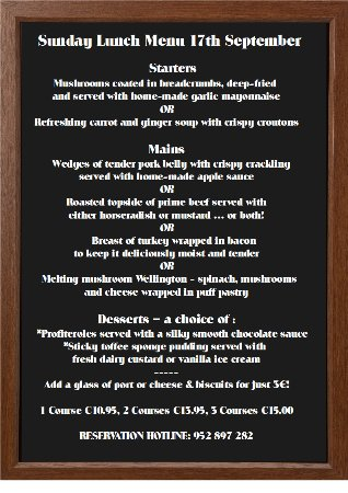 Puerto de la Duquesa, Spain: Sample Sunday Lunch menu. Book your tale early for our free wine offer!