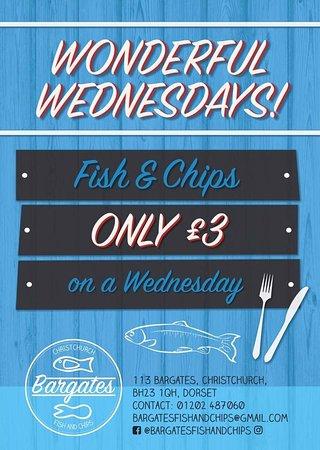 Christchurch, UK: Wonderful Wednesdays @ Bargates Fish & Chips