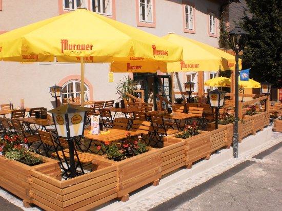 Murau, Austria: unser Gastgarten