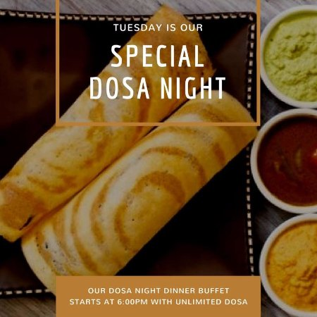 Wheeling, Ιλινόις: Dosa Night every Tuesday