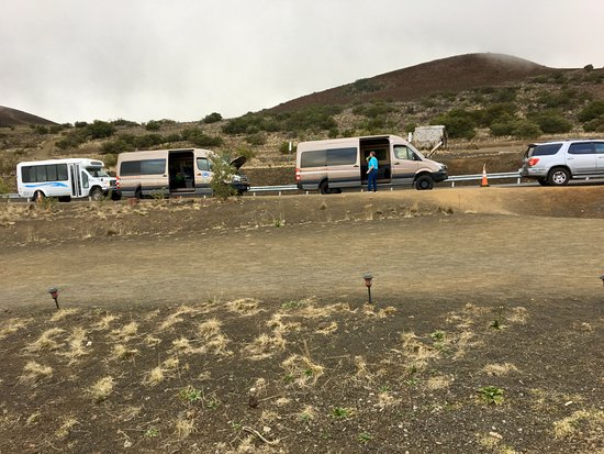 Mauna Kea Summit: Two buses on our tour. The two guides worked together during stargazing providing information