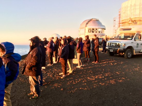 The crowd at sunset Mauna Kea summit. Not overly crowded .