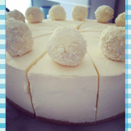 Bathgate, UK: White chocolate & coconut truffle cheesecake