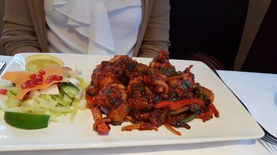 Rolleston, UK: Chilli King Prawns main course