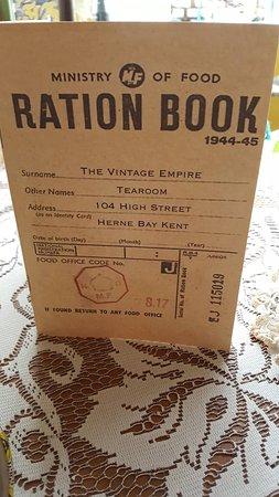 The Vintage Empire: Ration book menu