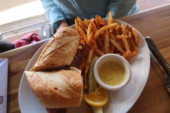 Louisville, CO: Steak sandwich and fries