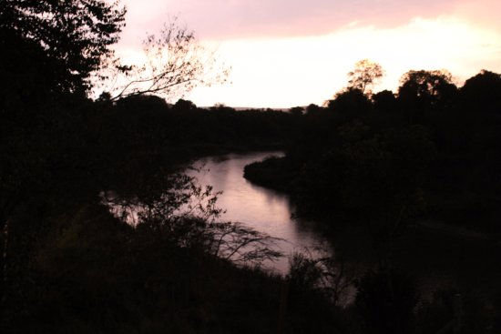 Ashnil Mara Camp: Evening view off the deck of the river filled with hippos