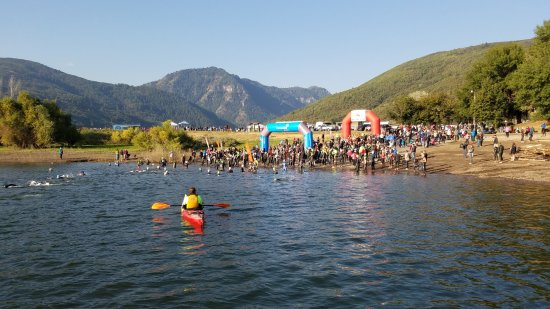 Huntsville, UT: Snowbasin in the distance at the start of the Xterra at Pineview Reservour