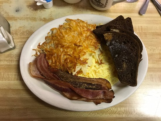 Cambridge, Minnesota: #3 With two eggs, hash browns, bacon and rye bread