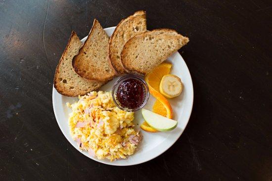 Hailey, ID: Ham and Cheese Scramble with local Bigwood Bread