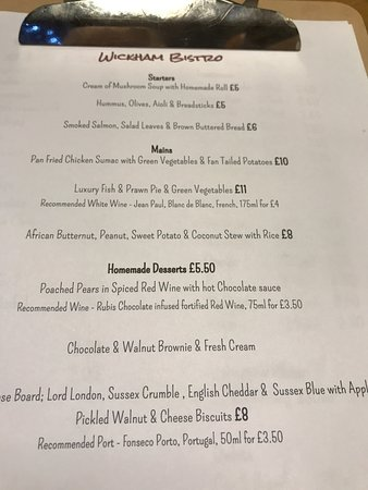 Bexhill-on-Sea, UK: the menu from September