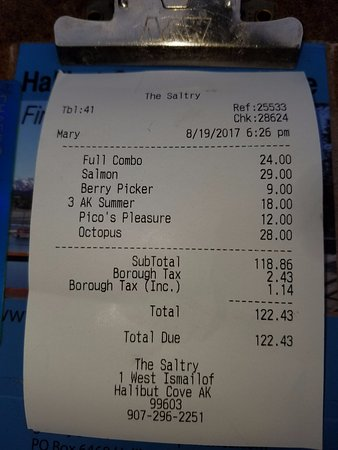Halibut Cove, AK: The receipt for 2 people with apps, entrees and drinks.  We loved the tax in AK!