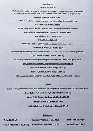 Malpas, UK: Our current evening menu (as of June 2017)