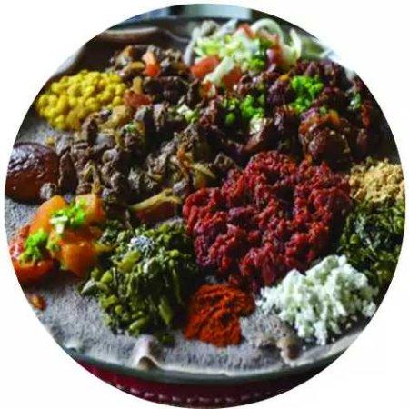 South Orange, NJ: A combination of Gomen, Aterkik Alicha, Lalibela Salad, Lalibla Tibs, Meklit's Kitfo, Cheese.