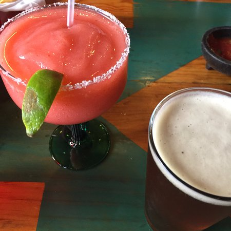 Flower Frozen Margarita and Dark Amber Beer, so nICE when OuTside hOT!!
