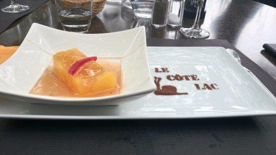 Les-Salles-sur-Verdon, فرنسا: dessert personnalisé - gelée d'agrumes