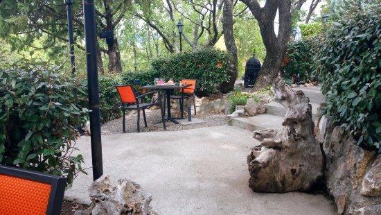 Les-Salles-sur-Verdon, فرنسا: table dans le jardin
