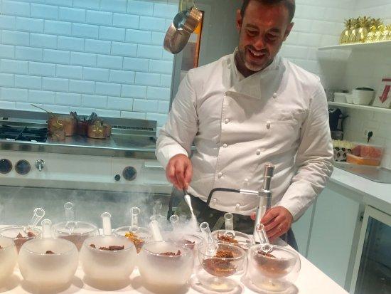 Chef Iker preparing 3rd dessert.