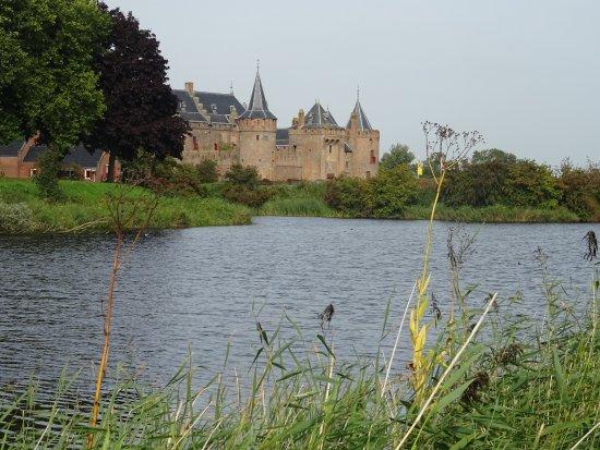 Muiderslot Muiden seen from the water of Vecht River