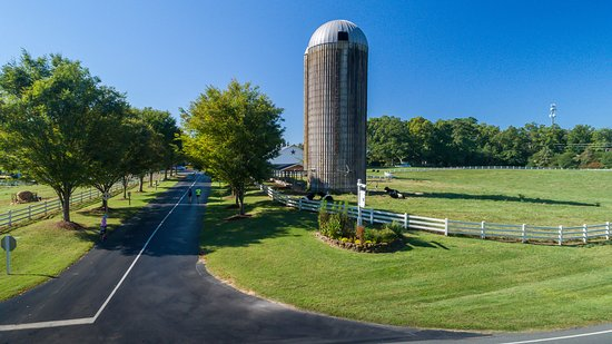 Pittsboro, NC: Views of the original farm's silo and barn while driving into Fearrington Village