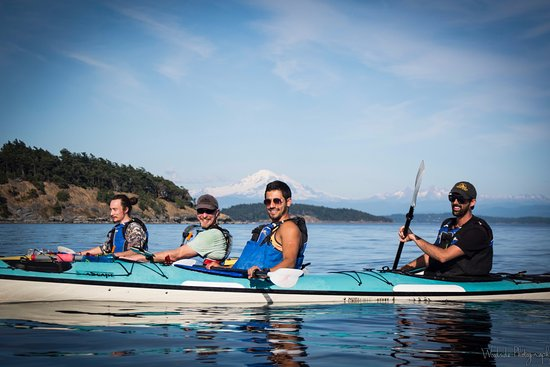 Eastsound, WA: Paddling around Sucia Island. Mt Baker in the background.