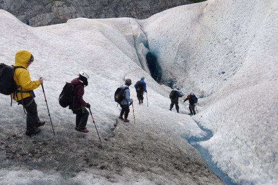 Above & Beyond Alaska: walking towards crevasse