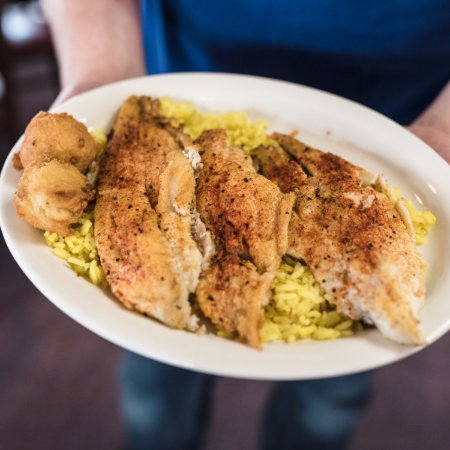 North Little Rock, AR: Grilled Blacken'd Catfish Over our Homemade Rice Pilaf