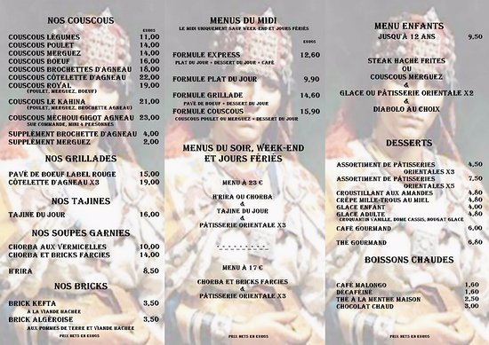 Loudeac, Γαλλία: Carte et Menu du Restaurant
