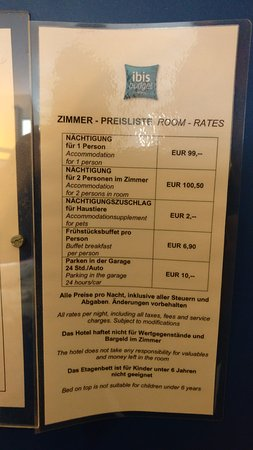 Ibis Budget Graz City: Room prices, posted on the back of the room's door