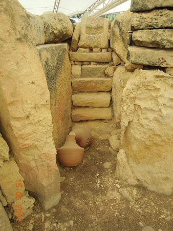 Tarxien Temples: View from inside ruins with pottery