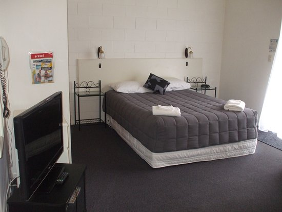 Masterton, New Zealand: Studio with queen and single bed in lounge, full kitchenette, bathroom, SKY TV, free wifi