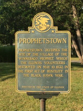 Historical plaque about Prophetstown, IL