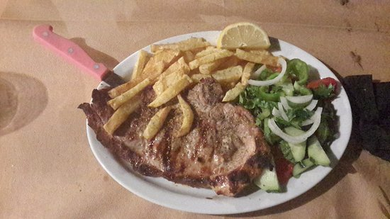 Omega Restaurant & Bar : This is a pork stake I had at the restaurant it cost €7.50 very good value