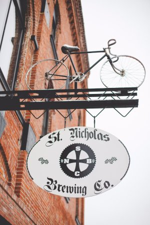 St. Nicholas Brewing Company: The front of the SNBC formerly St. Nicholas Hotel built in 1879