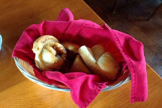 Westminster, MA : The infamous pecan rolls and corn fritter basket