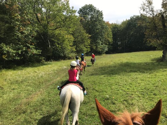 Bullville, NY: The one-hour trail ride led through field...