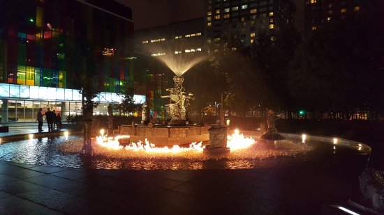 Montreal, Canada: Fountain during the fire portion of the show